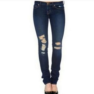 J Brand Destroyed Dark Torn Wash Skinny Jeans
